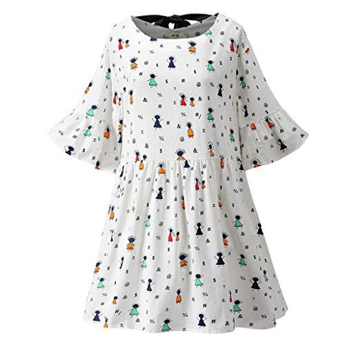 Damen-Kleid aus Baumwolle und Leinen, bedruckt, Rundhalsausschnitt, kurzärmelig, mit Ärmeln, Bandage, Swing-Kleid, Tunika, Tops, T-Shirt, Übergröße, lockerer Sommerpullover, A-Linie Gr. Medium, Weiß B