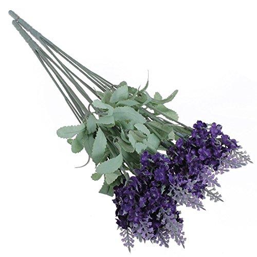 Dabbie cinq Bouquet 50 Tête artificielle Lavande Bouquet de fleurs en soie Violet Home Décoration de jardin