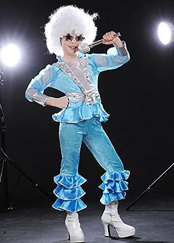 Kinder blau 70er Jahre Disco-Girl Kostüm Medium (EU128 7-8yrs) (70er Jahre Disco-kostüme Für Kinder)
