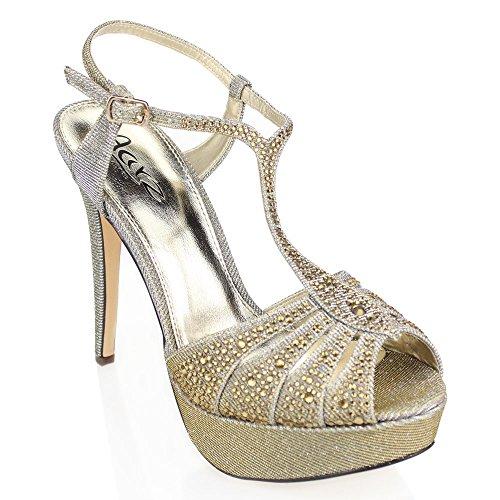 Aarz Frauen-Dame-Abend-Hochzeitsfest -Plattform-Absatz Diamante Braut Prom Sandale Schuhe Größe (Schwarz, Silber, Zinn) (Gladiator-sandalen Pewter)
