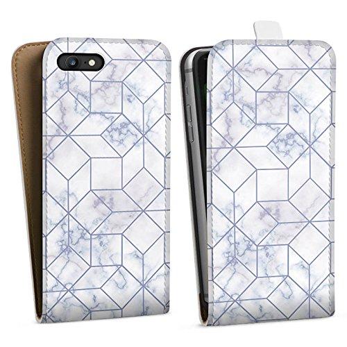 Apple iPhone X Silikon Hülle Case Schutzhülle Marble Weiss Muster Downflip Tasche weiß