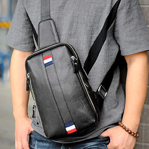 Fashion Single Shoulder diagonal Package Speed Sale Through The First Layer of Korean Fashion one Shoulder Casual Pockets Leather Men's Chest Bag