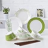 XZDXR Vaisselle Art de la Table coréen en céramique Grande Vaisselle Assiettes Assorties Set de Vaisselle Maison série Printemps Herbe 12 séries