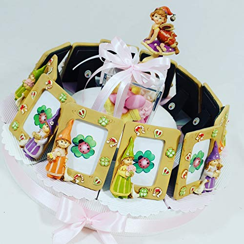 Bomboniere per battesimo nascita compleanno bambina portafoto torta con cornice fata con confetti