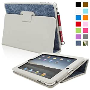 Snugg iPad 1 Leather Case in Blue Denim - Flip Stand Cover with Stylus Loop and Premium Nubuck Fibre Interior for Apple iPad 1
