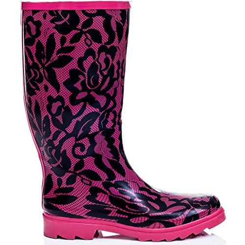 SPYLOVEBUY ZAPPY Damen Kinder Flache Fest Gummistiefel Regenstiefel Pink Lace