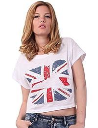 Miss Coquines - Crop top drapeau britannique - Femme - Tops et Débardeurs - T-Shirts