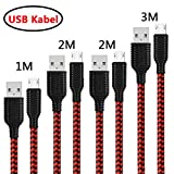 Micro USB Kabel, 4 Pack 1M 2M 2M 3M Nylon USB 2.0 Datenkabel Ladekabel Schnellladekabel Android Smartphones für Samsung Galaxy S6 / S5 / S4 / S3 /S7 / S7 Edge, Note 5 / 4 / 3,HTC,LG,Sony, Nexus, Blackberry, Nokia, Motorola, Huawei, Kindle,Android Devices - Rot