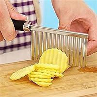 shuzhen-kitchen,Patatas onduladas de acero inoxidable cuchillo pelador de frutas y hortalizas cortador Gadget.(color:La Plata)