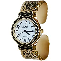 JAS Gold Plated Ladies Bracelet Bangle Metal Watch Antique Marcasite Style Extra Battery