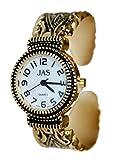 JAS Damenarmbanduhr Vergoldete antike Markasit-Analoganzeige mit japanischem Quarzwerk und Metallarmband-Armreifen JGold2