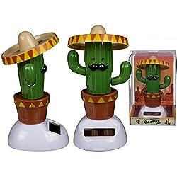 Kaktus Solarfigur mit Sombrero Wackelfigur Mexiko Wackelkopffigur Pflanzen Wüste