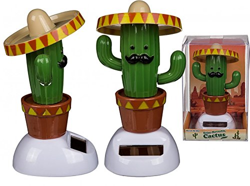 Kaktus Solarfigur mit Sombrero Wackelfigur Mexiko Wackelkopffigur Pflanzen Wüste Solar Sombrero