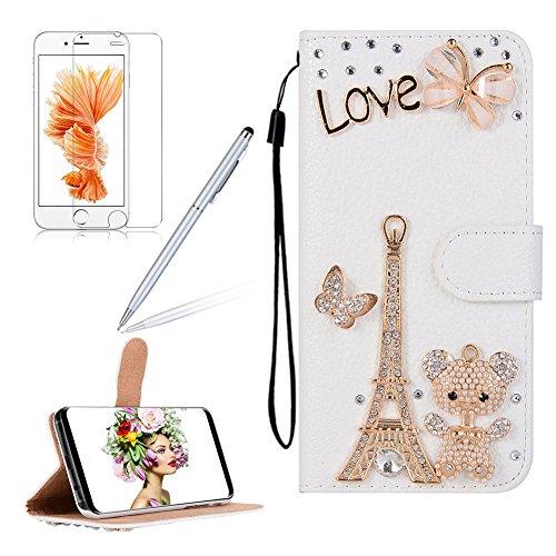 Girlyard für iPhone 8 iPhone 7 (4.7 Zoll) Diamant Cute Elefant Blumen Lederhülle, Bling Glitzer DIY Crystal Schutzhülle Luxus Premium PU Flip Case mit Lanyard Strap Standfunktion Kartenfach Magnetvers Weiß -3#