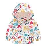 MRULIC Kinder Mädchen Jungen Floral Bedruckter Frühling mit Kapuze Licht Mantel Reißverschluss Jacke Tops Sonnenschutz Kleidung 1-6 Jahre(B-Mehrfarbig,80-90CM)
