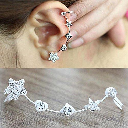 Hosaire 1x Ohrringe Fashion Lovely Crystal Star ear clip Ohrring für No Ohr Löcher Damen Girl 's Jewelry Accessories