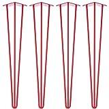 4 x Hairpin Tischbeine - Rot - alle Größen