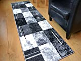 Modern Small Extra Large Sahara Silver Grey Black Marble Quality Thick Floor Long Carpet Runner Rugs (66cm x 230cm)