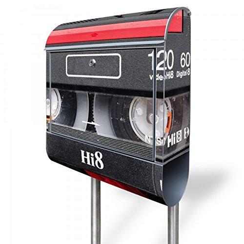 banjado - Briefkasten mit Edelstahl Ständer 38x150x12cm Postkasten mit Motiv Video Kassette