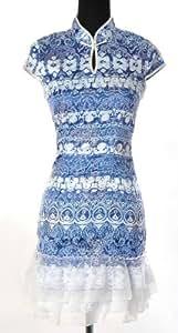 Shanghai Tone® Robe Chinoise Asiatique de Femmes Cheongsam Qipao Chipao Mandarin avec Jupe en Coton Polyester Bouton Floral Col Brodé Tenue de Soirée Blanc & Bleu Tailles Disponibles: 32-42