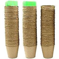 Ulable 8cm Fiber anzuchttöpfe rund Torf Töpfe mit Etiketten -100% biologisch abbaubar, Bio und Eco Friendly (Pack von 100)