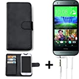 K-S-Trade Hülle für HTC One Mini 2 Schutz Wallet Case Walletcase schwarz Handytasche Klapphülle inkl. Kopfhörer in Ear Headphones