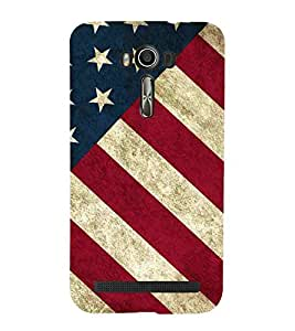 For Asus Zenfone 2 Laser ZE550KL (5.5 Inches) white star, stripes, brown background Designer Printed High Quality Smooth Matte Protective Mobile Case Back Pouch Cover by APEX ELEGANT