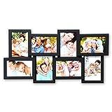 WOLTU Bilderrahmen Holz Rahmen für 8 Bilder in 10x15cm, Querformat und Hochformat, Foto Collage, Fotorahmen aus MDF, Schwarz, BR9643sz