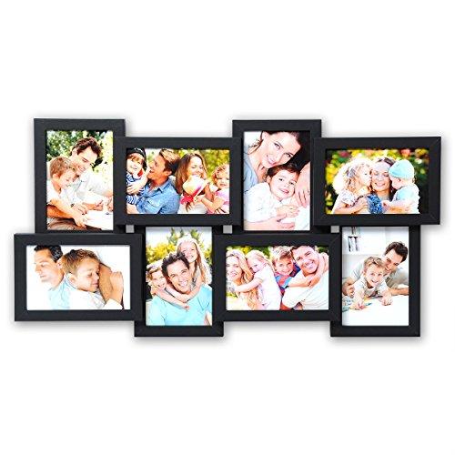 WOLTU BR9643sz Bilderrahmen Holz Rahmen, Für 8 Bilder, Zum Aufhängen im Querformat und Hochformat, 10x15cm Foto Collage, Fotorahmen, Bildergalerie, Schwarz - Bilderrahmen, 10x8