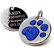 Engraved 25mm Glitter DARK BLUE Paw Print Pet ID Tag - In Stock and Supplied by Busy Bits
