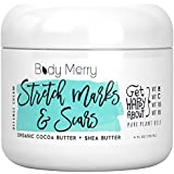 Stretch Marks & Scars Defense Cream- Daily Moisturizer w Organic Cocoa Butter + Shea + Plant Oils + Vitamins to Prevent, Reduce and Fade Away Old or New Scars – Best for Pregnancy, Men/Bodybuilders