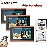 Four Video-Türklingel Intercom 7-Zoll-Kabel-Türsprechanlage Kit Visuelle Einstiegssystem, Home-Security Zu Entsperren, Mit Infrarot-Nachtsichtkamera, Überwachung