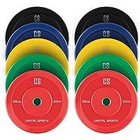 CAPITAL SPORTS Nipton Juego completo Discos de peso 5 parejas 5-25 kg (Resistente goma dura, abertura de 50,4 mm, ideales para cualquier barra olímpica o Cross-Training, Weight-Drops / Saques)