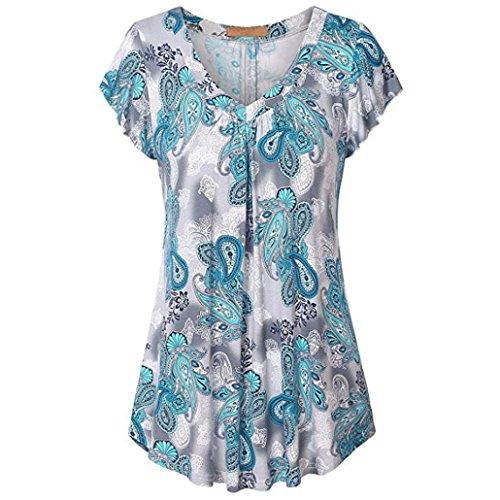 TEBAISE Sommer Frauen Wochenende Reisen Clubbing Charming Slim Suit Manschette Spitze Plus Size Print Plissee Kurzarm V-Neck Top Tunika Bluse Shirt(Himmelblau,EU-52/CN-XL) -