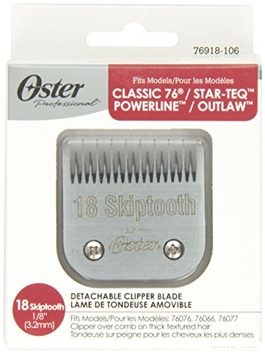 Oster Professional 76918-106 Replacement Blade for Classic 76/Star-Teq/Power-Teq Clippers, Size# 18 Skiptooth 1/8 (3.2mm) by Oster (Oster 76 Clippers Blades)