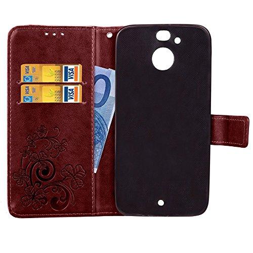 EKINHUI Case Cover Double Magnetic Back Sucktion Retro Style PU Leder Flip Stand Case mit Kickstand und Wallet Pouch Funktion für HTC Evo ( Color : Brown ) Brown