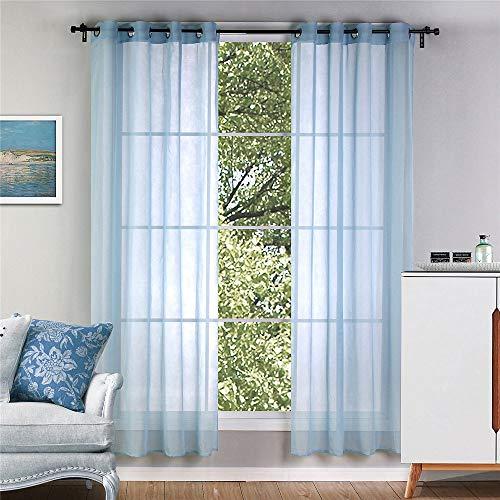 Culasign set di 2 tende semitrasparenti, in tulle, voile, per finestre, con occhielli per camera da letto, blu, 140 x 220 cm