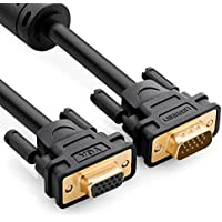 UGREEN Prolunga VGA, 2M Cavo VGA Maschio Femmina 15pin Full HD 1080P Connettori Dorati per Proiettori, HDTV e Monitor