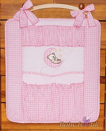 Hängetasche zur Aufbewahrung, für Kinderbett, Motiv: Bär / Mond, Rosa