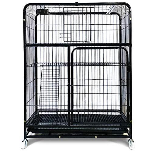 LJGN Tragbarer dreischichtiger Katzenkäfig, Bold Cat Villa aus hochtemperaturbemaltem Eisen, abnehmbare Haustierausstattung, schwarz