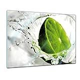 Glasbild - Limette - - 80 x 60 cm - Deko Glas - Wandbild aus Glas - Bild auf Glas - Moderne Glasbilder - Glasfoto - Echtglas - Kein Acryl - Handmade