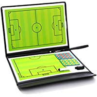 Crewell - Tabla Táctica de Fútbol para Entrenar equipamientos auxiliares (2,5 Pliegues, Piel)