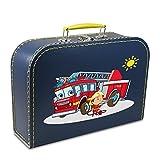 Kinderkoffer Pappe 40 cm dunkelblau mit Feuerwehr, Feuerwehrmann und Sonne, Malkoffer Spielkoffer Puppenkoffer Pappkoffer