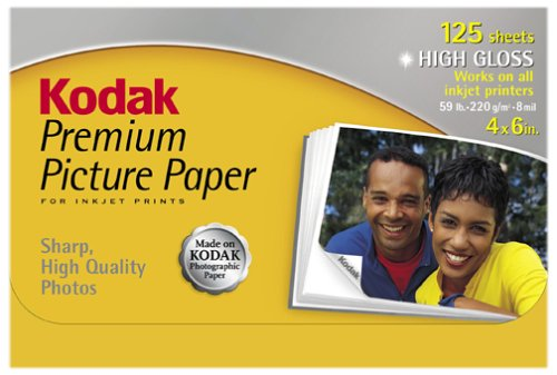 Kodak 1368158 premium picture paper, high gloss, 4 inx6in, 125 fogli