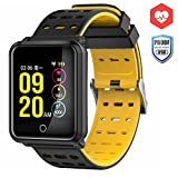 CanMixs Smart Watch CM05 mit Pulsmesser, wasserdichte IP68 Smartwatch, Fitness Tracker mit Stoppuhr, Schlaf Monitor, Schrittzähler, Kalorienzähler, Musik-Fernbedienung, Bluetooth Activity Armband für Android und IOS(Schwarz)