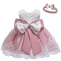 LZH Toddler Baby Girls Dress Birthday Bowknot Tutu Princess Flower Lace Dress(8348-Bean Powder,6M)