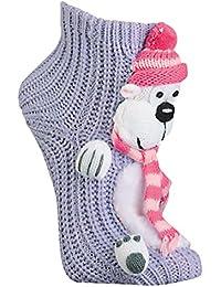 Damen Homesocks Wintertiere Pinguin Elch Hunde mit Laufsohle mollig warm