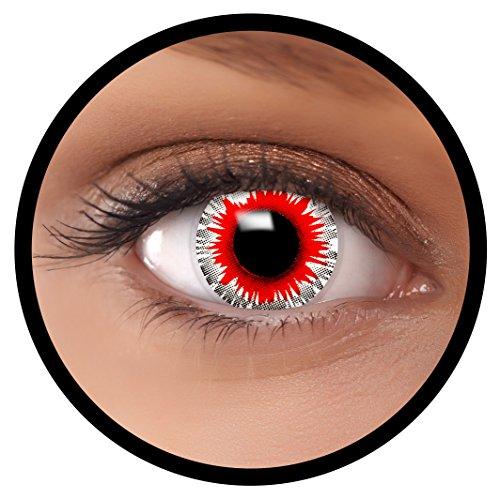 taktlinsen rot Demonic + Linsenbehälter, weich, ohne Stärke als 2er Pack - angenehm zu tragen und perfekt zu Halloween, Karneval, Fasching oder Fasnacht ()