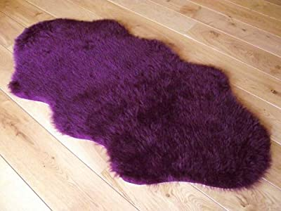 Aubergine Plum Purple Faux Fur Sheepskin Style Rug - cheap UK light shop.
