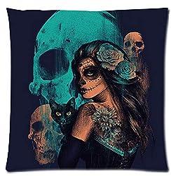 Custom Day of The Dead Mexican Sugar Skull Girl Home Decorative Soft Throw Pillowcase Cushion Custom Pillow Case Cover Protecter with Zipper Standard Printed Kissenbezüge (65cmx65cm)